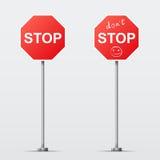 Het einde en houdt geïsoleerde geen verkeersteken tegen Vectorillu Royalty-vrije Stock Foto