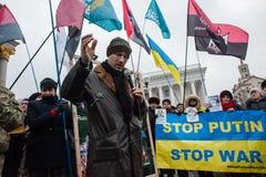 Het Einde Putin van de protestactie ` - houd Oorlog ` bij het Onafhankelijkheidsvierkant in tegen Kyiv Stock Afbeelding