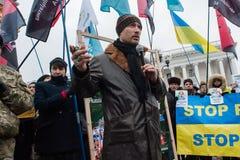 Het Einde Putin van de protestactie ` - houd Oorlog ` bij het Onafhankelijkheidsvierkant in tegen Kyiv Stock Afbeeldingen