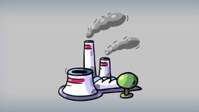 Het eindemotie van de beeldverhaalfabriek De industriesymbool vector illustratie