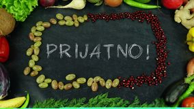 Het eindemotie van het Prijatno Bosnische fruit, in Engelse Bon-eetlust royalty-vrije stock afbeeldingen