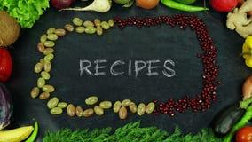 Het eindemotie van het receptenfruit stock afbeeldingen