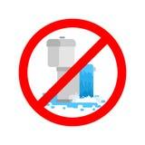Het eindetoilet is belemmerd Het is verboden om toilet te gebruiken Prohibiti stock illustratie