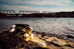 Het eindigen netten door Nieuwe Hoopbrug bij zonsondergang op Deleware stock afbeelding