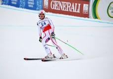 Het eindigen van Andrea Fischbacher op de Kop van de Wereld van de Ski 2012 Royalty-vrije Stock Fotografie