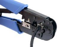 Het eindigen van ethernet kabel Stock Afbeelding