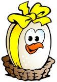 Het eizitting van de kip in een mand Royalty-vrije Stock Afbeelding