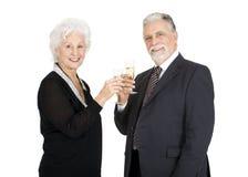 Het elegante bejaarde paar roosteren Royalty-vrije Stock Afbeelding