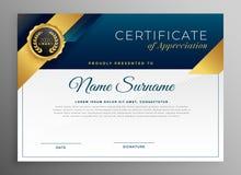 Het elegante blauwe en gouden ontwerp van het certicatemalplaatje vector illustratie
