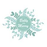 Het elegante blauwe malplaatje van de de uitnodigingskaart van het bladerenhuwelijk Vectorillu Stock Foto