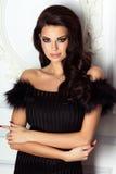 Het elegante donkerbruine vrouw stellen Stock Foto