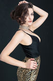 Het elegante donkerbruine vrouw stellen Stock Afbeelding