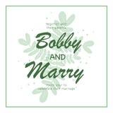 Het elegante groene malplaatje van de de uitnodigingskaart van het bladerenhuwelijk Zieke vector Stock Foto's