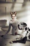 Het elegante jonge dame ontspannen met haar vriendschappelijke hond royalty-vrije stock afbeeldingen