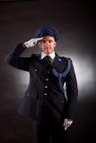Het elegante militair eenvormig dragen Stock Foto's