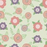 Het elegante naadloze patroon met bloemen overhandigt getrokken Royalty-vrije Stock Afbeeldingen