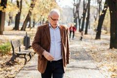 Het elegante oude mensen lopen Royalty-vrije Stock Foto