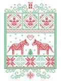 Het elegante patroon van de de winter dwarssteek van de Kerstmis Skandinavische, Noordse stijl met inbegrip van sneeuwvlok, hart, royalty-vrije illustratie