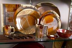 Het elegante Plaatsen van de Platen en van de Plaats van het Diner Royalty-vrije Stock Foto