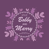 Het elegante purpere malplaatje van de de uitnodigingskaart van het bladerenhuwelijk Vector IL Stock Afbeeldingen