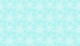 Het elegante witte naadloze patroon van de kantbloem op blauw Stock Afbeelding