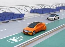 Het elektrische auto drijven op de draadloze het laden steeg van de weg vector illustratie