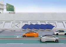 Het elektrische auto drijven op de draadloze het laden steeg van de weg royalty-vrije illustratie