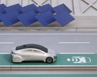 Het elektrische auto's drijven op de draadloze het laden steeg van de weg royalty-vrije illustratie