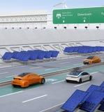 Het elektrische auto's drijven op de draadloze het laden steeg van de weg vector illustratie