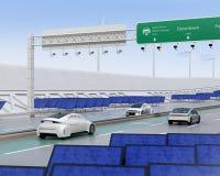Het elektrische auto's drijven op de draadloze het laden steeg van de weg stock illustratie