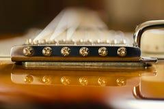 Het elektrische close-up van de gitaarbrug Royalty-vrije Stock Foto's