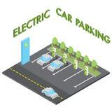 Het elektrische concept van het autoparkeren, isometrische voertuig het laden post Stock Fotografie