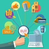 Het elektronische handelconcept Internet koopt vlak verkoop het winkelen online opslag Stock Afbeeldingen