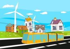 Het elektrotrein drijven op de spoorweg, de dorpshuizen en groene hilld op achtergrond, platteland vector illustratie