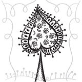 Het element van de handtekening zentangle met decoratief kader Decoratieve abstracte boom Kaartspades Royalty-vrije Stock Foto's