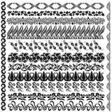 Het element van de het patroonrand van het Jugendstilsilhouet Stock Afbeelding