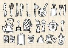 Het element van de keuken, hand trekt Stock Foto's