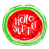 Het element van het de zomerontwerp met watermeloen Krabbel vers fruit in gru Stock Foto