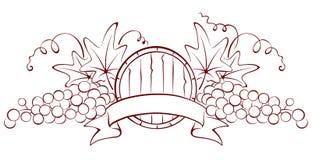 Het element van het ontwerp - een vat en druiven Royalty-vrije Stock Fotografie
