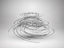 Het element van het Wireframenetwerk Abstracte wervelingsvorm met verbonden lijnen en punten Stock Afbeeldingen