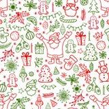 Het element van het Kerstmisontwerp in het patroon van de krabbelstijl De traditionele getrokken pictogrammen van de de wintervak Stock Fotografie