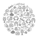 Het element van het zeevruchtenontwerp stock afbeeldingen