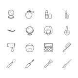 Het elementen zwart die pictogram van de vrouwenmake-up op witte achtergrond wordt geplaatst Royalty-vrije Stock Foto