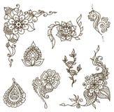 Het elementenreeks van de tatoegeringshenna Stock Afbeeldingen