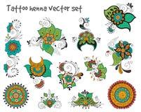 Het elementenreeks van de tatoegeringshenna Stock Fotografie