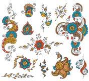 Het elementenreeks van de tatoegeringshenna Royalty-vrije Stock Afbeeldingen