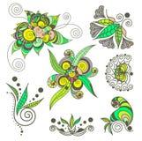 Het elementenreeks van de tatoegeringshenna Stock Afbeelding