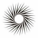 Het elementenzonnestraal van het kunst barstte de abstracte ontwerp zwart-wit cirkel spiraalvormige effect vector voor Web en dru Stock Foto