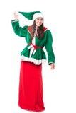 Het elf van de Kerstmisvrouw, op witte achtergrond wordt geïsoleerd die Stock Afbeeldingen