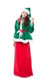 Het elf van de Kerstmisvrouw, op witte achtergrond wordt geïsoleerd die Stock Afbeelding